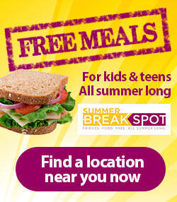 Banner Ad: Free Meals for Kids and Teens All Summer Long! Find a location near you now!