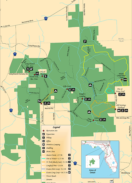 Map of Jennings State Forest
