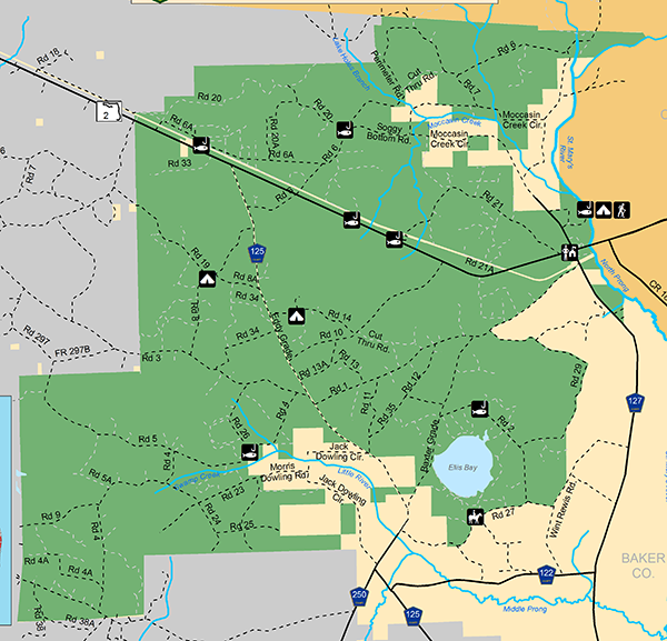 Map Of John Bethea State Forest
