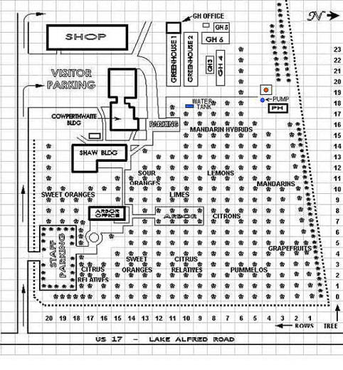 Arboretum map of facility and varieties, Winter Haven, FL