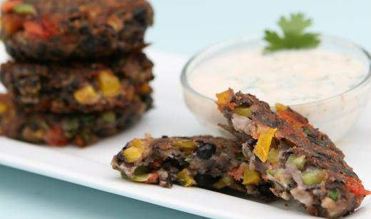 Black Bean Cakes with Florida Tomatoes and Spicy Yogurt Sauce / Sides ...