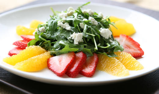 Florida Arugula and Goat Cheese Salad with Citrus and Strawberry ……..