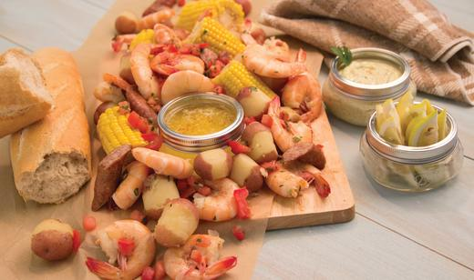 Florida Pink Shrimp Boil with Sweet Corn and New Potatoes        ……..