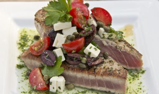 Seared Florida Tuna Steaks with Mediterranean Relish and Herb Oil        …….