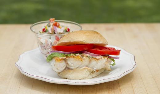 Grouper Sandwich with New Potato Salad